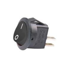 Interruttore a bilanciere unipolare con tasto nero - diametro 16mm - 250Vca 3A - 125V 6A