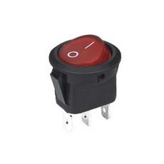 Interruttore a bilanciere unipolare con tasto rosso luminoso - diametro 23mm - 250V 6,5A - 125V 13A
