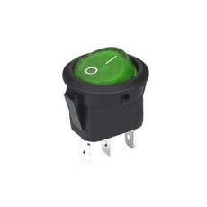 Interruttore a bilanciere unipolare con tasto verde luminoso - diametro 23mm - 250V 6,5A - 125V 13A
