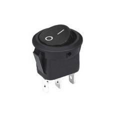 Interruttore a bilanciere unipolare con tasto nero - diametro 23mm - 250V 6,5A - 125V 13A