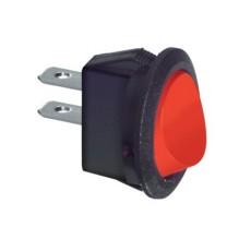 Interruttore a bilanciere unipolare con tasto rosso - diametro 23mm - 250Vca 6,5A - 125V 13A