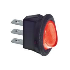 Interruttore a bilanciere unipolare con tasto rosso luminoso - diametro 23mm - 250Vca 6,5A - 125V 13A