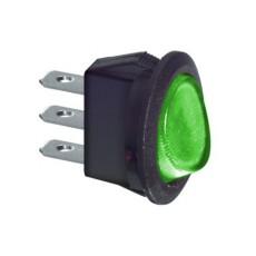 Interruttore a bilanciere unipolare con tasto verde luminoso - diametro 23mm - 250Vca 6,5A - 125V 13A