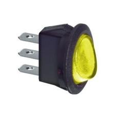Interruttore a bilanciere unipolare con tasto giallo luminoso - diametro 23mm - 250Vca 6,5A - 125V 13A