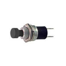 Interruttore a pulsante normalmente aperto con tasto nero - diametro 6mm - 28V 3A