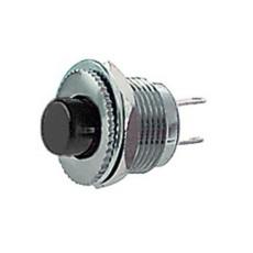 Interruttore a pulsante normalmente aperto con tasto nero - diametro 14mm - 28V 3A