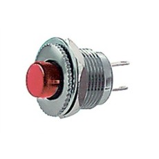 Interruttore a pulsante normalmente aperto con tasto rosso - diametro 14mm - 28V 3A