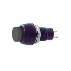Interruttore a pulsante normalmente aperto con tasto nero - diametro 15mm - 250V 1A