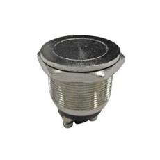 Interruttore a pulsante antivandalismo normalmente aperto con tasto piatto grigio - diametro 15mm - 250V 2A - 125V 4A