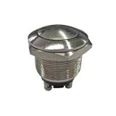 Interruttore a pulsante antivandalismo normalmente aperto con tasto tondo grigio - diametro 15mm - 250V 2A - 125V 4A