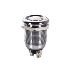 Interruttore a pulsante antivandalismo normalmente aperto con tasto piatto grigio - diametro 12mm - 250V 2A - 125V 4A
