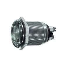Interruttore a pulsante antivandalismo normalmente aperto con tasto piatto grigio - diametro 12mm - 12V 2A