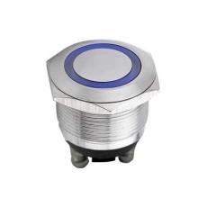 Interruttore a pulsante antivandalismo con doppia funzione normalmente aperto/chiuso con tasto grigio e anello blu luminoso - diametro 22mm - 250V 5A