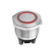 Interruttore a pulsante antivandalismo con doppia funzione normalmente aperto/chiuso con tasto grigio e anello rosso luminoso - diametro 22mm - 250V 5A