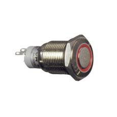Interruttore a pulsante antivandalismo con doppia funzione normalmente aperto/chiuso con tasto grigio e anello rosso luminoso - diametro 19mm - 250V 3A