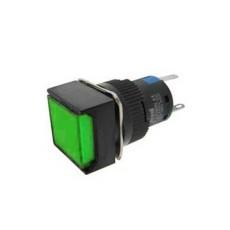 Interruttore a pulsante con doppia funzione normalmente aperto/chiuso con tasto verde luminoso - 18x18mm - 24V 5A