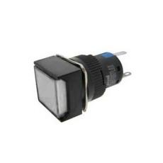Interruttore a pulsante con doppia funzione normalmente aperto/chiuso con tasto bianco luminoso - 18x18mm - 24V 5A