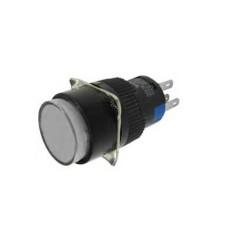 Interruttore a pulsante con doppia funzione normalmente aperto/chiuso con tasto bianco luminoso - diametro 18mm - 24V 5A