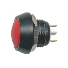 Interruttore a pulsante antivandalismo normalmente aperto con tasto tondo rosso - diametro 16mm - 36V 2A