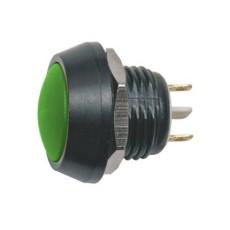Interruttore a pulsante antivandalismo normalmente aperto con tasto tondo verde - diametro 16mm - 36V 2A