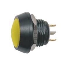 Interruttore a pulsante antivandalismo normalmente aperto con tasto tondo giallo - diametro 16mm - 36V 2A