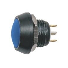 Interruttore a pulsante antivandalismo normalmente aperto con tasto tondo blu - diametro 16mm - 36V 2A