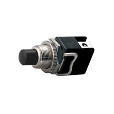 Interruttore a pulsante normalmente aperto con tasto nero - diametro 12mm - 250V 4A