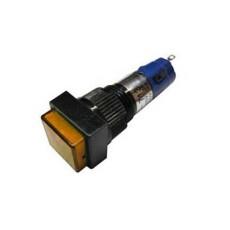 Interruttore a pulsante unipolare con tasto giallo luminoso - 14x14mm - 250V 1A - 125V 3A