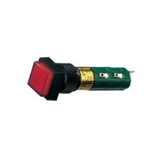 Interruttore a pulsante bipolare con tasto rosso luminoso - 14x14mm - 250V 1A