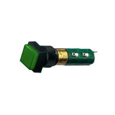 Interruttore a pulsante bipolare con tasto verde luminoso - 14x14mm - 250V 1A