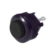 Interruttore a pulsante unipolare con tasto nero - diametro 18mm - 250V 1A