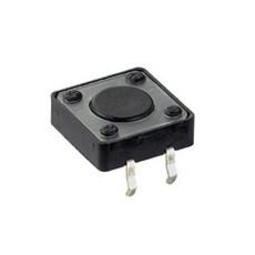 Micropulsante da circuito stampato con tasto nero - 12x12mm altezza 4,3mm - 12Vcc 50mA - confezione da 10pz