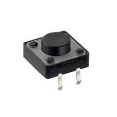 Micropulsante da circuito stampato con tasto nero - 12x12mm altezza 7,5mm - 12Vcc 50mA - confezione da 10pz