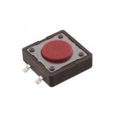 Micropulsante smd con tasto rosso - 12x12mm altezza 4,3mm - 12Vcc 50mA - confezione da 10pz