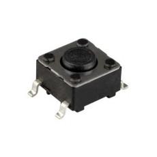 Micropulsante smd con tasto nero - 6x6mm altezza 4,3mm - 12Vcc 50mA - confezione da 10pz
