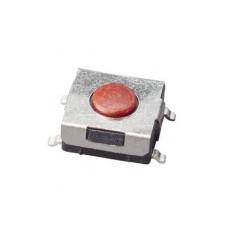 Micropulsante smd con tasto rosso - 6x6mm altezza 2,5mm - 12Vcc 50mA - confezione da 10pz