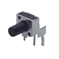 Micropulsante da circuito stampato a 90° con tasto nero - 6x6mm altezza 3,85mm - 12Vcc 50mA - confezione da 10pz