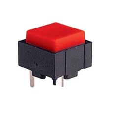 Micropulsante da circuito stampato con tasto rosso - 12x12mm altezza 10mm - 24Vcc 10mA - confezione da 10pz