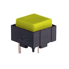 Micropulsante da circuito stampato con tasto giallo - 12x12mm altezza 10mm - 24Vcc 10mA - confezione da 10pz
