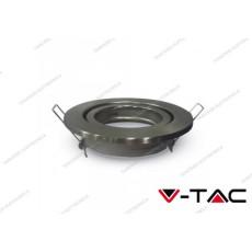Portafaretto orientabile da incasso V-TAC VT-7227 rotondo nickel satinato 99 mm