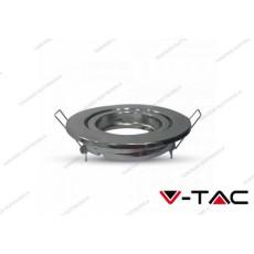 Portafaretto orientabile da incasso V-TAC VT-7227 rotondo cromato 99 mm