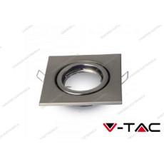 Portalampada da incasso V-TAC VT-7227 quadrato regolabile nickel satinato 99 x 99 mm