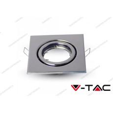 Portafaretto orientabile da incasso V-TAC VT-7227 quadrato cromato 99 x 99 mm