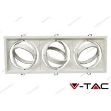 Portafaretto orientabile V-TAC VT-7223 per 3 lampadine AR111 bianco 475 x 175 mm