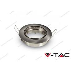 Portafaretto orientabile da incasso V-TAC VT-779 per faretti GU10 rotondo nichel satinato 82 mm