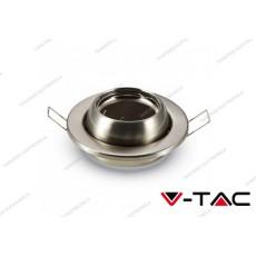 Portafaretto da incasso cambio angolo V-TAC VT-780 rotondo nichel satinato Ø100 mm