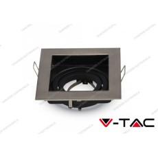 Portafaretto orientabile da incasso V-TAC VT-781 quadrato nichel satinato 100 x 100 x 38 mm