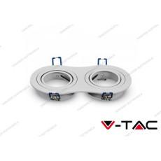 Portafaretto orientabile da incasso per 2 faretti V-TAC VT-783 rotondo bianco 173 x 91 x 25 mm
