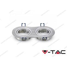 Portafaretto orientabile da incasso per 2 faretti V-TAC VT-783 rotondo aluminium brush 173 x 91 x 25 mm