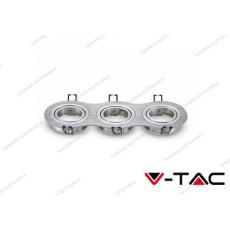 Portafaretto orientabile da incasso per 3 faretti V-TAC VT-784 rotondo aluminium brush 255 x 91 x 25 mm